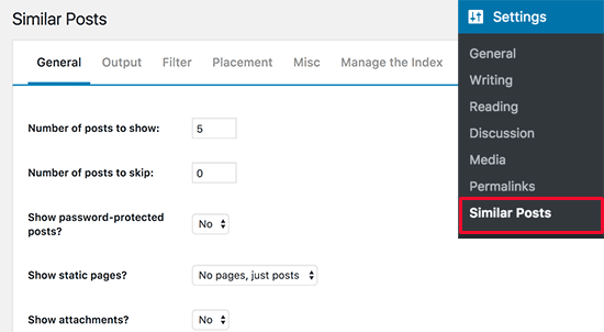 Similar posts plugin settings