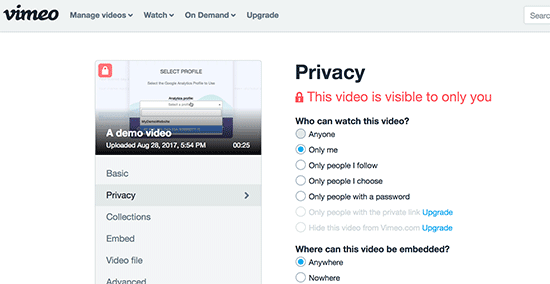 Vimeo video privacy