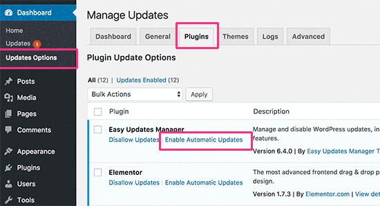 Autoupdate select plugins