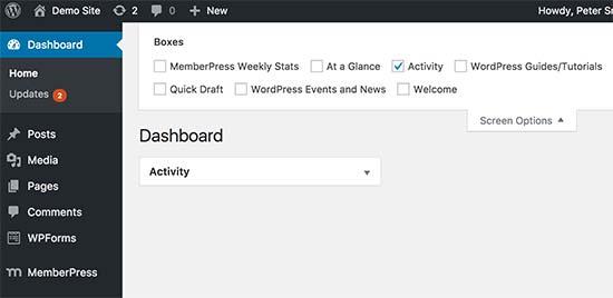 Cleaning up dashbaord screen in WordPress