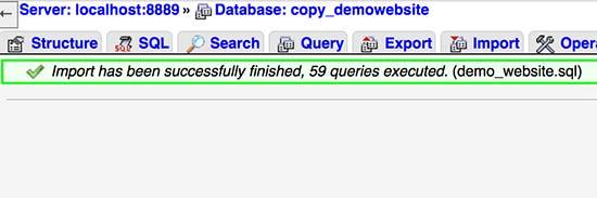 Successfully imported WordPress database