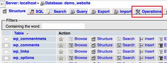 Database operations in my phpmyadmin