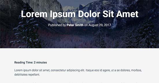 Reading time displayed in WordPress blog post