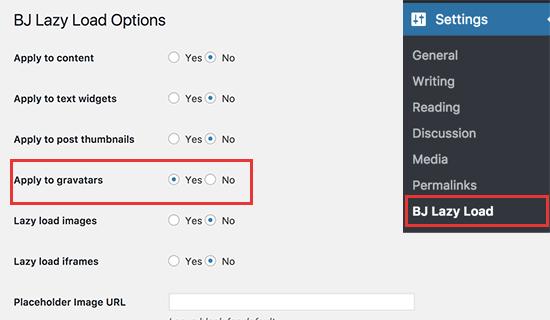 BJ Lazy Load settings