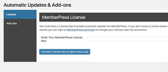 MemberPress license key