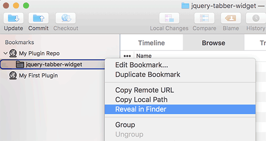 Show local repository in Finder
