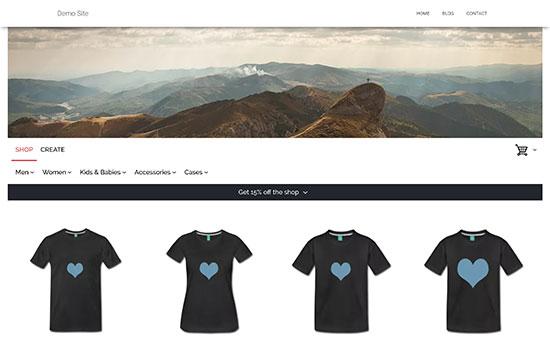 T-shirt shop preview