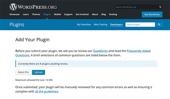 Upload your WordPress plugin for review