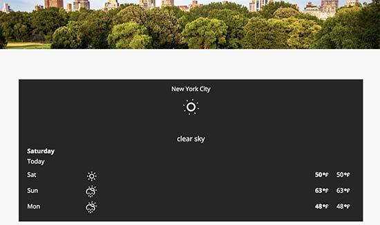 Weather forecaste displayed on a WordPress website