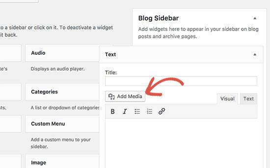 Add Media button in text widget