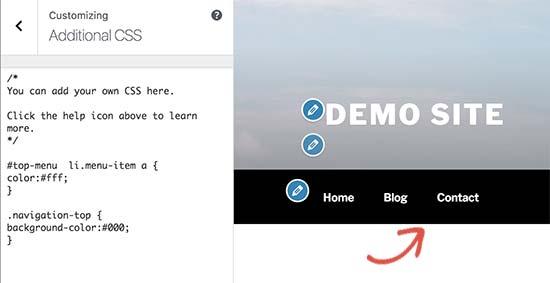 Changing background color of navigation menu bar