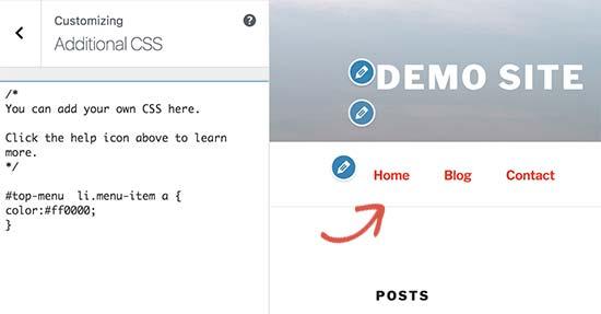 Changing font color of WordPress navigation menus