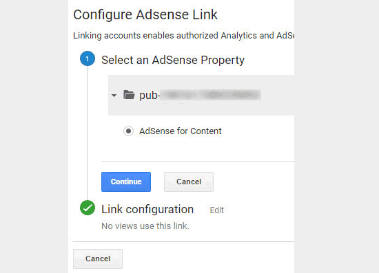 Select and link AdSense property