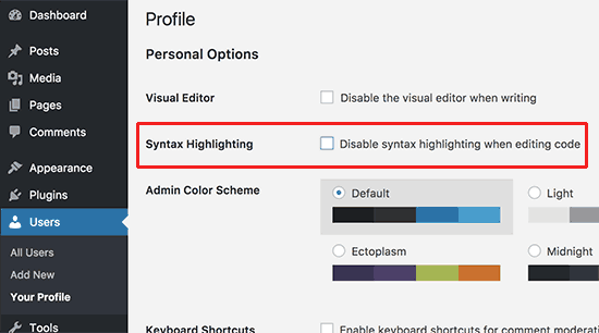 Disable syntax highlighting