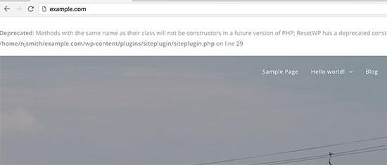 WordPress warning errors on homepage