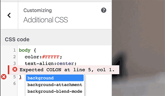 Error highlighting
