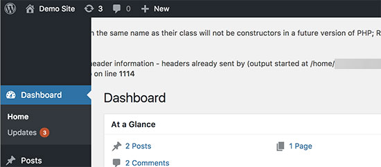 PHP errors in WordPress admin area