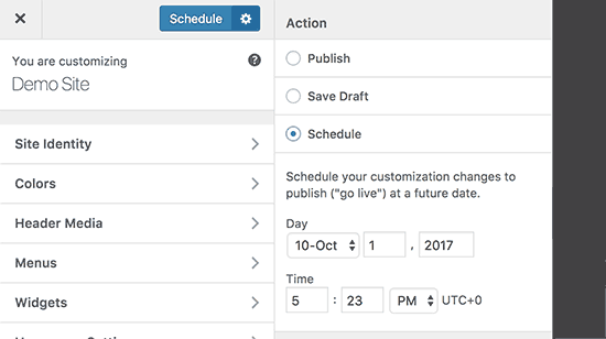 Schedule theme changes in customizer