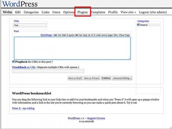 WordPress 1.2 Mingus User Interface