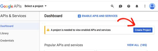 Create a new Google Developer Console project