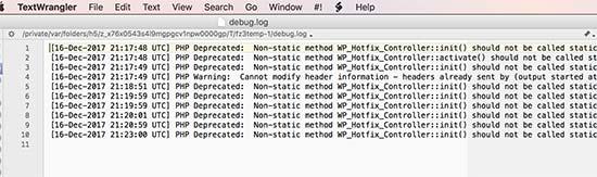 WordPress errors logged