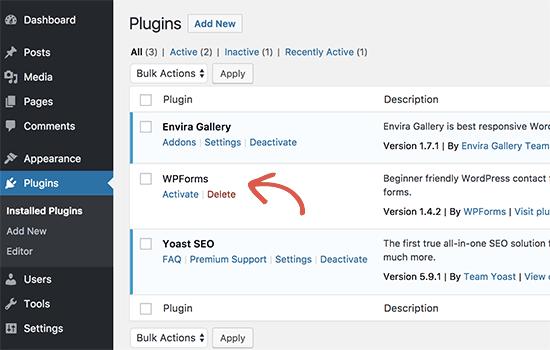 Installed plugin in WordPress admin area