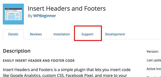 Plugin support tab