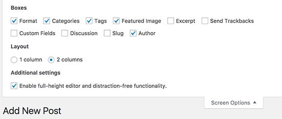 Screen Options settings on post edit screen in WordPress
