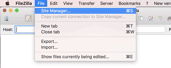 Site manager in FileZilla FTP client