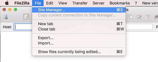 Gestionnaire de site dans le client FTP FileZilla