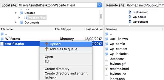 Téléchargez le fichier sur votre site Web à partir de votre ordinateur