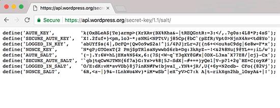 Generating WordPress security keys
