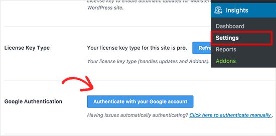 Authenticate with your Google account