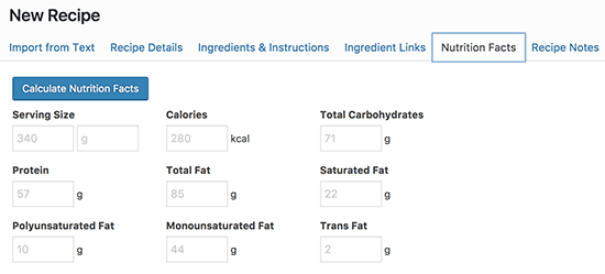 Calculate nutrition facts