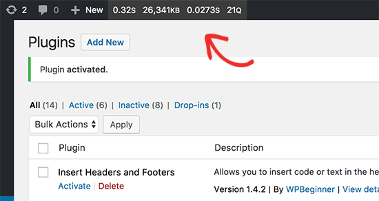 Query Monitor menu in WordPress admin bar