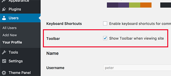 Show or hide admin bar when viewing website