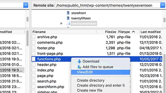 Edit theme files via FTP