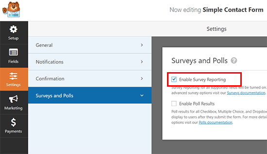 Enable survey reporting for any form in WPForms