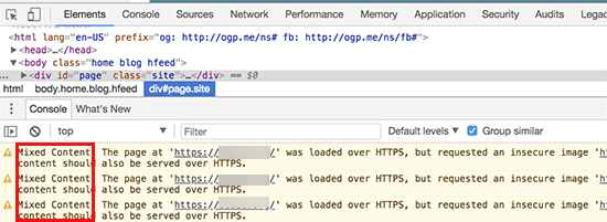 Mixed content displayed in developer tools