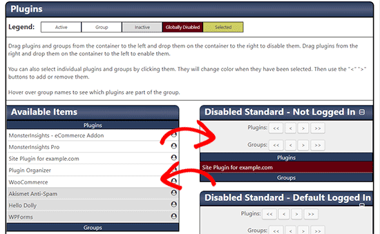Disable plugins based on URL filters