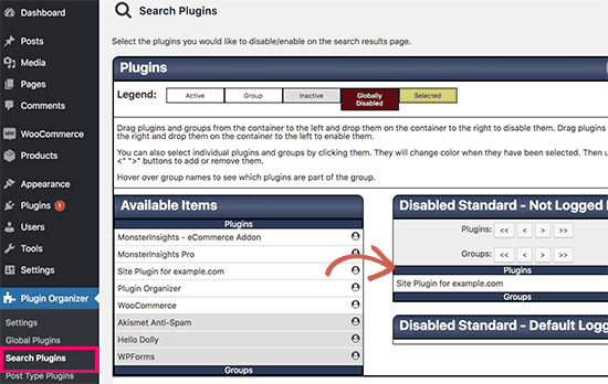 Disable plugins on search results page