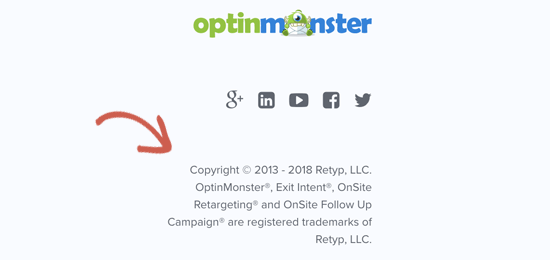 Example of using copyright and trademark symbols on a website