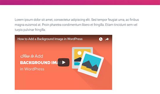 Left aligned video in a WordPress post
