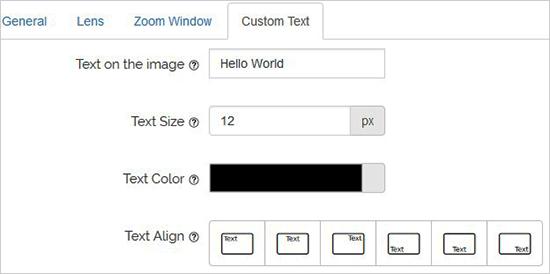 Configuration de texte personnalisée