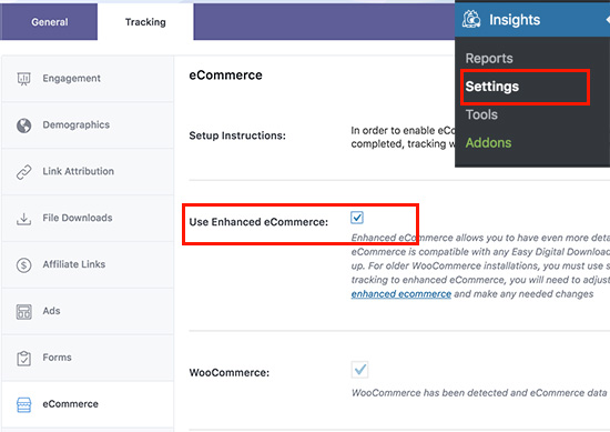Turn on enhanced eCommerce tracking in MonsterInsights