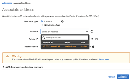 Associate  IP to your WordPress instance