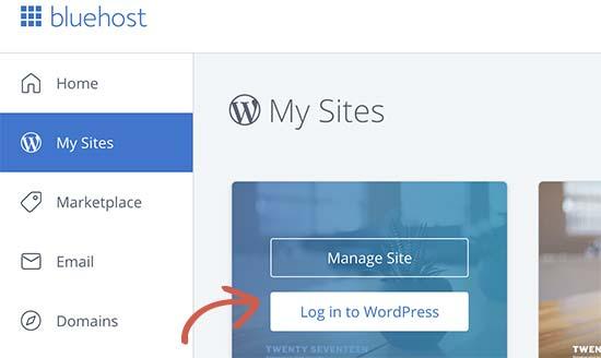 Bluehost hosting dashboard