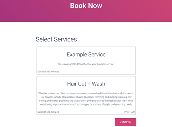 Booking page preview