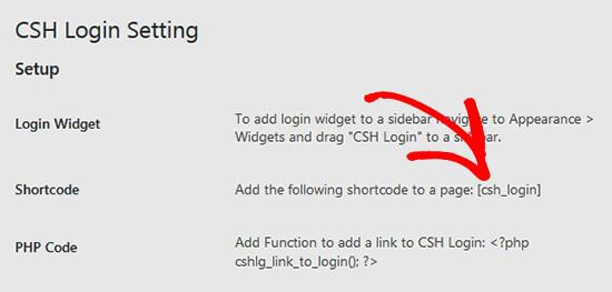 Copy shortcode for CSH login plugin