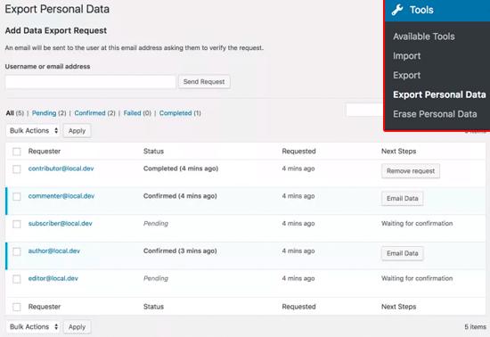 WordPress Data Handling - GDPR